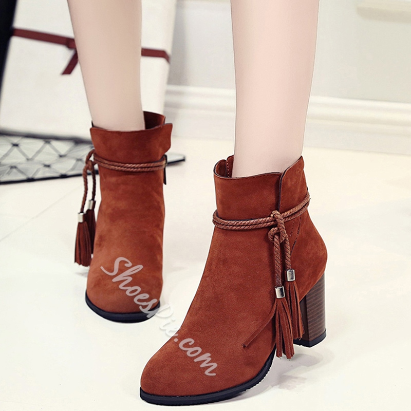 Shoespie Ankle Tie Round Toe Mid Block Heel Fashion Booties