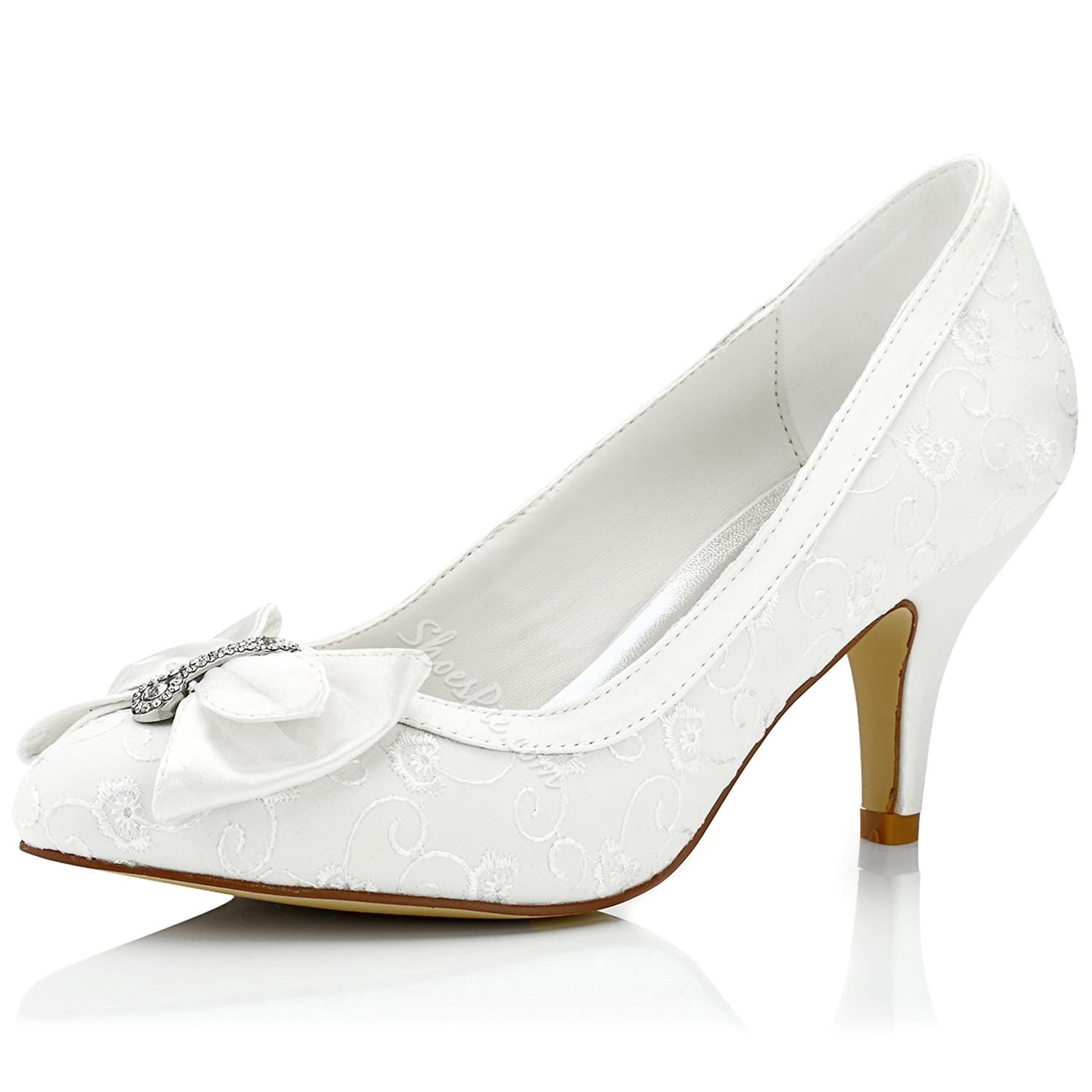 Shoespie Dreaming White Bow Low Heel Bridal Shoes- Shoespie.com