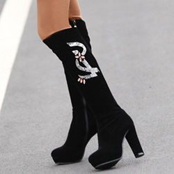 Shoespie Black Jewelled Block Heel Knee High Boots