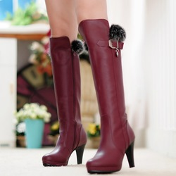 Shoespie Round Toe Furry Ankle Buckle Knee High Boots