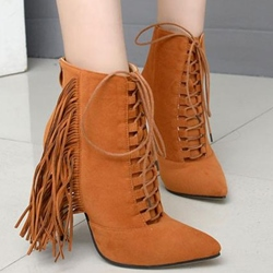 Shoespie Plain Suede-like Fringe Lace Up Ankle Boots