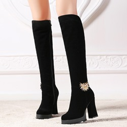 Shoespie Black Metal Embellished Chunky Heel Knee High Boots