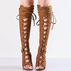 Shoespie Brown Lace Up Cut Out Knee High Boots