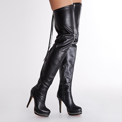 Sexy Back Zipper Genuine Leather Over Knee High Stiletto Boots