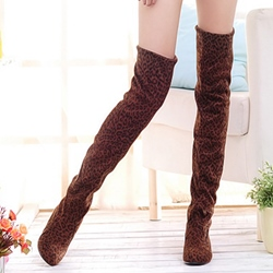 Shoespie Chic Leopard Print Round Toe Thigh High Boots