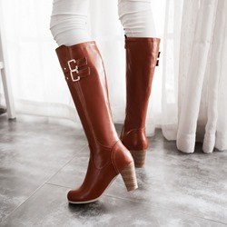 Shoespie Trendy Buckle Block Heel Riding Boots