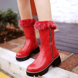 Shoespie Round Toe Zipper Furry Snow Boots