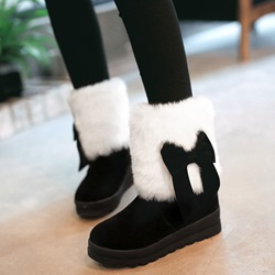 Shoespie Chic Round Toe Furry Bow Snow Boots