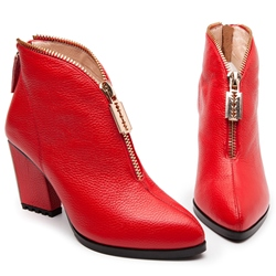 Shoespie Red Front Zipper Ankle Boots