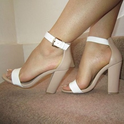 Shoespie Nude and White Sandals