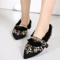 Shoespie Gorgeous Rhinestone Pointed Toe Loafers