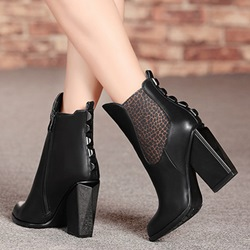 Shoespie Black Patchwork Block Heel Ankle Boots