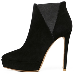Shoespie Black Patchwork Fashion Booties