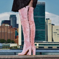 Shoespie Warm Pink Velvet Block Heel Thigh High Boots