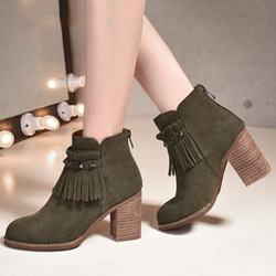 Shoespie Rivets Round Toe Block Heel Ankle Boots