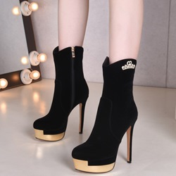 Shoespie Chic Black Platform High Heel Boots