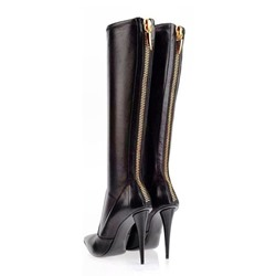 Shoespie Gorgeous Black Zipper Triangle Heel Knee High Boots