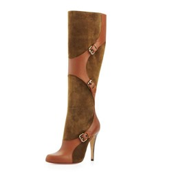 Shoespie Brown Color Block Patchwork Low Heel Wide Boots