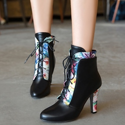 Shoespie Floral Print Patchwork Chunky Heel Ankle Boots