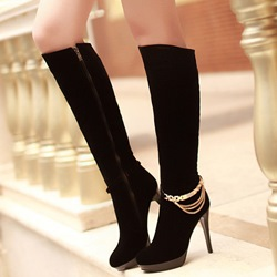 Shoespie Black Ankle Chain Knee High Boots