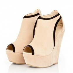 Shoespie Beige Cutout Wedges
