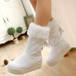 Shoespie Round Toe Furry Platform Snow Boots