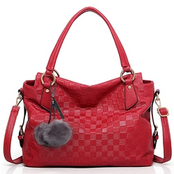 Shoespie Gorgeous Stone Pattern Pompom Accented Handbag