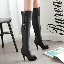 Shoespie Street Look Side Lace Up Knee High Boots
