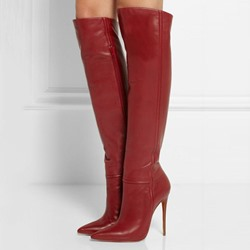 Shoespie Luxurious Plain Stiletto Heel Knee High Boots