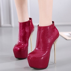 Shoespie Trendy Shine Leather Platform Ankle Boots