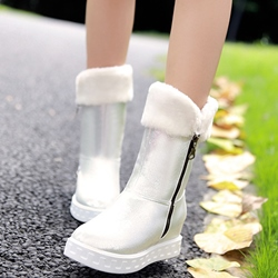 Shoespie Iridescent Round Toe Zipper Snow Boots