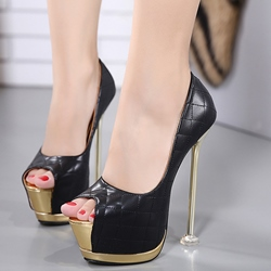 Shoespie Gorgeous Plaid Peep Toe Sky High Platform Heels