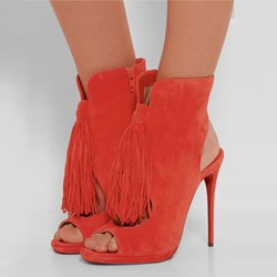 Shoespie Chic Passionate Orange Fringe Fashion Booties