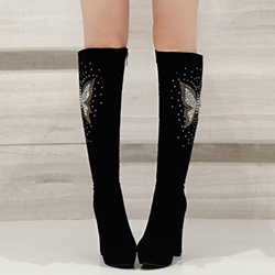 Shoespie Black Butterfly Appliqued Block Heel Knee High Boots