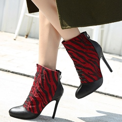 Shospie Leopard Print Patchwork Lace Up Ankle Boots
