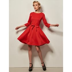 Long Sleeve Lace-Up Knee-Length A-Line Women's Dress
