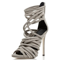 Shoespie Gray Suede Strappy Sandals