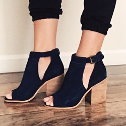 Shoespie Black Cut Block Heel Sandals