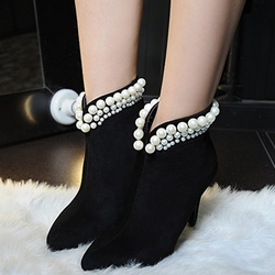 Shoespie Plain Ankle Beaded Fashion Booties
