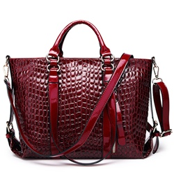 Shoespie Shine Leather Stone Pattern Handbag
