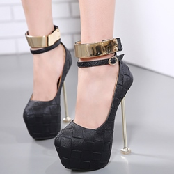 Shoespie Solid Color Stone Pattern Ankle Wrap Platform Heels