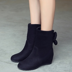 Shoespie Round Toe Bow Back Flat Boots