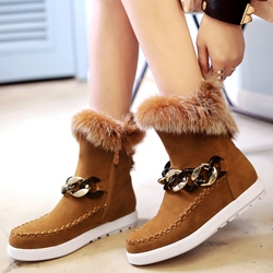 Shoespie Round Toe Chain Furry Snow Boots