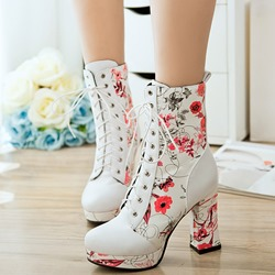 Shoespie Flower Print Chunky Heel Lace Up Ankle Boots