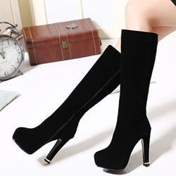 Shoespie Plain Black Platform Knee High Boots
