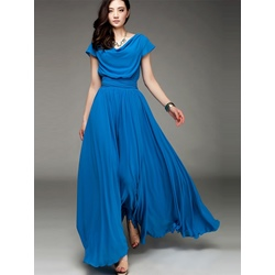 Elegant Maxi Dress With Draped Neckline