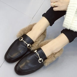 Shoespie Round Toe Furry Loafers