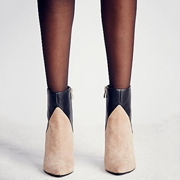Shoespie Two Tone Contrast Color Stiletto Heel Ankle Boots