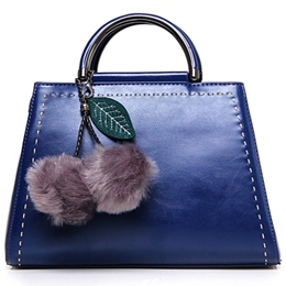 Shoespie Pompom Accented Solid Color Handbag