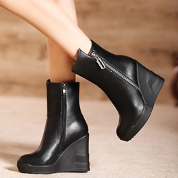 Shoespie Black Round Toe Zipper Wedge Boots